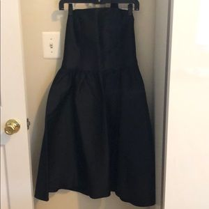 H&M black structured strapless dress
